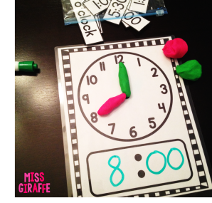 Telling time in first grade ideas: Use dough to make the time on a clock mat!